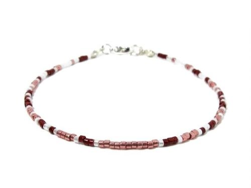 Dainty Red, Pink & White Seed Bead Layering Bracelet